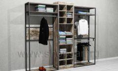 Блок пристенных стеллажей для одежды торговое оборудование ЛОФТ