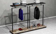Стойка островная для навески и выкладки одежды двойная торговое оборудование ЛОФТ