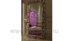 Зеркало Ферари золотая широкая рама для магазина