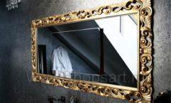 Зеркало Ферари горизонтальная золотая рама для магазина