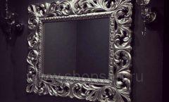 Зеркало Ферари горизонтальная серебристая рама для магазина
