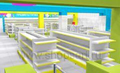 Дизайн интерьера детского магазина МАЛЫШ-АМ коллекция ЦВЕТНЫЕ МЕТАЛЛИЧЕСКИЕ СТЕЛЛАЖИ Дизайн 01