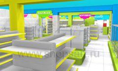 Дизайн интерьера детского магазина МАЛЫШ-АМ коллекция ЦВЕТНЫЕ МЕТАЛЛИЧЕСКИЕ СТЕЛЛАЖИ Дизайн 03