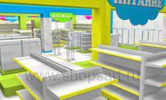 Дизайн интерьера детского магазина МАЛЫШ-АМ коллекция ЦВЕТНЫЕ МЕТАЛЛИЧЕСКИЕ СТЕЛЛАЖИ Дизайн 04