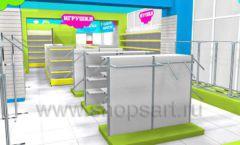 Дизайн интерьера детского магазина МАЛЫШ-АМ коллекция ЦВЕТНЫЕ МЕТАЛЛИЧЕСКИЕ СТЕЛЛАЖИ Дизайн 05