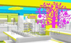 Дизайн интерьера детского магазина МАЛЫШ-АМ коллекция ЦВЕТНЫЕ МЕТАЛЛИЧЕСКИЕ СТЕЛЛАЖИ Дизайн 07