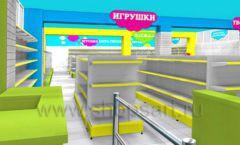 Дизайн интерьера детского магазина МАЛЫШ-АМ коллекция ЦВЕТНЫЕ МЕТАЛЛИЧЕСКИЕ СТЕЛЛАЖИ Дизайн 08