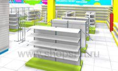 Дизайн интерьера детского магазина МАЛЫШ-АМ коллекция ЦВЕТНЫЕ МЕТАЛЛИЧЕСКИЕ СТЕЛЛАЖИ Дизайн 09