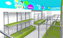 Дизайн интерьера детского магазина МАЛЫШ-АМ коллекция ЦВЕТНЫЕ МЕТАЛЛИЧЕСКИЕ СТЕЛЛАЖИ Дизайн 10