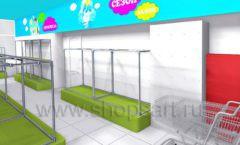 Дизайн интерьера детского магазина МАЛЫШ-АМ коллекция ЦВЕТНЫЕ МЕТАЛЛИЧЕСКИЕ СТЕЛЛАЖИ Дизайн 11