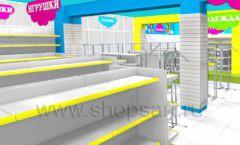 Дизайн интерьера детского магазина МАЛЫШ-АМ коллекция ЦВЕТНЫЕ МЕТАЛЛИЧЕСКИЕ СТЕЛЛАЖИ Дизайн 13