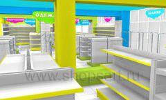 Дизайн интерьера детского магазина МАЛЫШ-АМ коллекция ЦВЕТНЫЕ МЕТАЛЛИЧЕСКИЕ СТЕЛЛАЖИ Дизайн 14