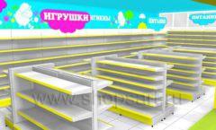 Дизайн интерьера детского магазина МАЛЫШ-АМ коллекция ЦВЕТНЫЕ МЕТАЛЛИЧЕСКИЕ СТЕЛЛАЖИ Дизайн 16