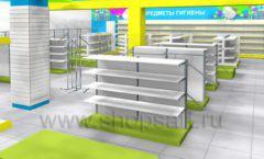 Дизайн интерьера детского магазина МАЛЫШ-АМ коллекция ЦВЕТНЫЕ МЕТАЛЛИЧЕСКИЕ СТЕЛЛАЖИ Дизайн 17