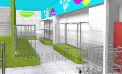Дизайн интерьера детского магазина МАЛЫШ-АМ коллекция ЦВЕТНЫЕ МЕТАЛЛИЧЕСКИЕ СТЕЛЛАЖИ Дизайн 18