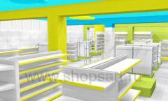 Дизайн интерьера детского магазина МАЛЫШ-АМ коллекция ЦВЕТНЫЕ МЕТАЛЛИЧЕСКИЕ СТЕЛЛАЖИ Дизайн 19