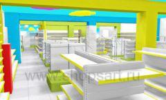 Дизайн интерьера детского магазина МАЛЫШ-АМ коллекция ЦВЕТНЫЕ МЕТАЛЛИЧЕСКИЕ СТЕЛЛАЖИ Дизайн 20