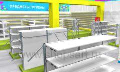 Дизайн интерьера детского магазина МАЛЫШ-АМ коллекция ЦВЕТНЫЕ МЕТАЛЛИЧЕСКИЕ СТЕЛЛАЖИ Дизайн 21