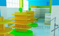 Дизайн интерьера детского магазина торговое оборудование ЦВЕТНЫЕ МЕТАЛЛИЧЕСКИЕ СТЕЛЛАЖИ Дизайн 02
