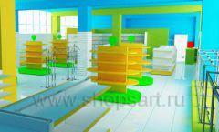 Дизайн интерьера детского магазина торговое оборудование ЦВЕТНЫЕ МЕТАЛЛИЧЕСКИЕ СТЕЛЛАЖИ Дизайн 04