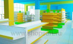 Дизайн интерьера детского магазина торговое оборудование ЦВЕТНЫЕ МЕТАЛЛИЧЕСКИЕ СТЕЛЛАЖИ Дизайн 06
