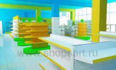 Дизайн интерьера детского магазина торговое оборудование ЦВЕТНЫЕ МЕТАЛЛИЧЕСКИЕ СТЕЛЛАЖИ Дизайн 07