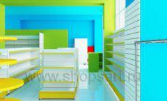 Дизайн интерьера детского магазина торговое оборудование ЦВЕТНЫЕ МЕТАЛЛИЧЕСКИЕ СТЕЛЛАЖИ Дизайн 09