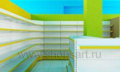 Дизайн интерьера детского магазина торговое оборудование ЦВЕТНЫЕ МЕТАЛЛИЧЕСКИЕ СТЕЛЛАЖИ Дизайн 10