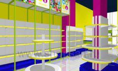 Дизайн интерьера детского магазина в Green park коллекция ЦВЕТНЫЕ МЕТАЛЛИЧЕСКИЕ СТЕЛЛАЖИ Дизайн 01