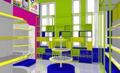 Дизайн интерьера детского магазина в Green park коллекция ЦВЕТНЫЕ МЕТАЛЛИЧЕСКИЕ СТЕЛЛАЖИ Дизайн 02