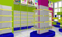Дизайн интерьера детского магазина в Green park коллекция ЦВЕТНЫЕ МЕТАЛЛИЧЕСКИЕ СТЕЛЛАЖИ Дизайн 03