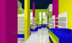 Дизайн интерьера детского магазина в Green park коллекция ЦВЕТНЫЕ МЕТАЛЛИЧЕСКИЕ СТЕЛЛАЖИ Дизайн 05