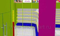 Дизайн интерьера детского магазина в Green park коллекция ЦВЕТНЫЕ МЕТАЛЛИЧЕСКИЕ СТЕЛЛАЖИ Дизайн 06