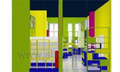 Дизайн интерьера детского магазина в Green park коллекция ЦВЕТНЫЕ МЕТАЛЛИЧЕСКИЕ СТЕЛЛАЖИ Дизайн 08