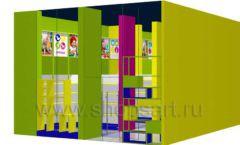 Дизайн интерьера детского магазина в Green park коллекция ЦВЕТНЫЕ МЕТАЛЛИЧЕСКИЕ СТЕЛЛАЖИ Дизайн 09