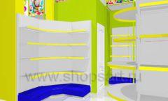 Дизайн интерьера детского магазина в Green park коллекция ЦВЕТНЫЕ МЕТАЛЛИЧЕСКИЕ СТЕЛЛАЖИ Дизайн 10