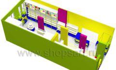 Дизайн интерьера детского магазина в Green park коллекция ЦВЕТНЫЕ МЕТАЛЛИЧЕСКИЕ СТЕЛЛАЖИ Дизайн 11