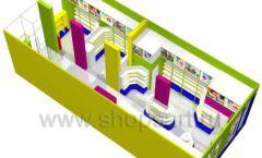 Дизайн интерьера детского магазина в Green park коллекция ЦВЕТНЫЕ МЕТАЛЛИЧЕСКИЕ СТЕЛЛАЖИ Дизайн 12