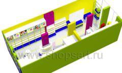 Дизайн интерьера детского магазина в Green park коллекция ЦВЕТНЫЕ МЕТАЛЛИЧЕСКИЕ СТЕЛЛАЖИ Дизайн 13