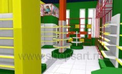Дизайн интерьера 2 детского магазина в Green park коллекция ЦВЕТНЫЕ МЕТАЛЛИЧЕСКИЕ СТЕЛЛАЖИ Дизайн 02
