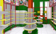 Дизайн интерьера 2 детского магазина в Green park коллекция ЦВЕТНЫЕ МЕТАЛЛИЧЕСКИЕ СТЕЛЛАЖИ Дизайн 03