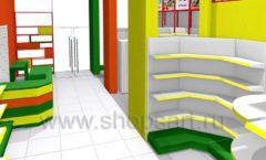 Дизайн интерьера 2 детского магазина в Green park коллекция ЦВЕТНЫЕ МЕТАЛЛИЧЕСКИЕ СТЕЛЛАЖИ Дизайн 06