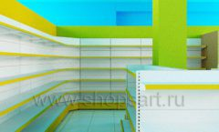 Дизайн интерьера магазина торговое оборудование ЦВЕТНЫЕ МЕТАЛЛИЧЕСКИЕ СТЕЛЛАЖИ Дизайн 10