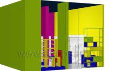 Дизайн интерьера магазина в Green park коллекция ЦВЕТНЫЕ МЕТАЛЛИЧЕСКИЕ СТЕЛЛАЖИ Дизайн 07