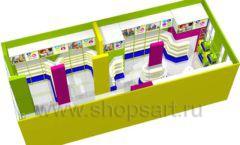Дизайн интерьера магазина в Green park коллекция ЦВЕТНЫЕ МЕТАЛЛИЧЕСКИЕ СТЕЛЛАЖИ Дизайн 14