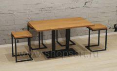 Двойной стол с квадратными табуретами