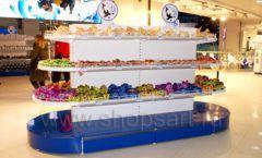 Торговое оборудование 2 детского сувенирного магазина Москвариум ВДНХ ЦВЕТНЫЕ МЕТАЛЛИЧЕСКИЕ СТЕЛЛАЖИ Фото 29