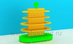 Стеллаж для детского магазина островной радиусный торговое оборудование ЦВЕТНЫЕ МЕТАЛЛИЧЕСКИЕ СТЕЛЛАЖИ