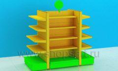Стеллаж для детского магазина островной четырехсторонний торговое оборудование ЦВЕТНЫЕ МЕТАЛЛИЧЕСКИЕ СТЕЛЛАЖИ