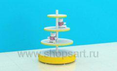 Стеллаж для детского магазина с круглыми полками торговое оборудование ЦВЕТНЫЕ МЕТАЛЛИЧЕСКИЕ СТЕЛЛАЖИ